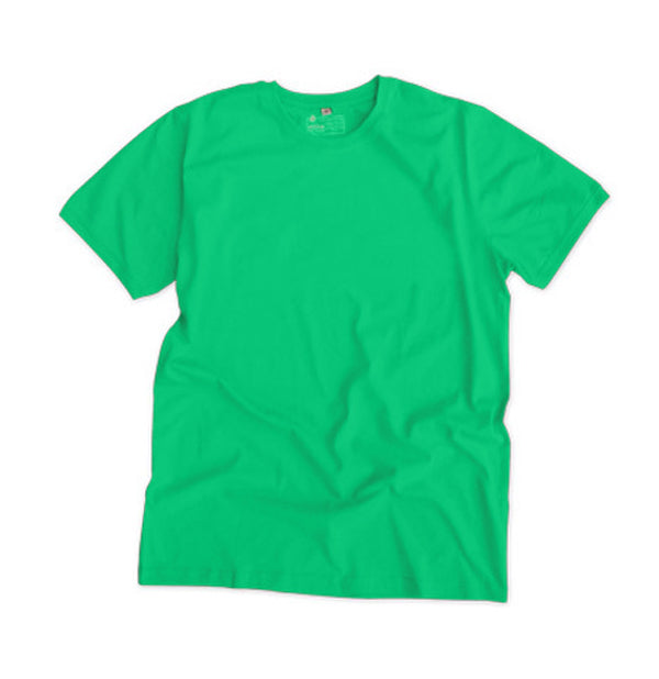 Etiko's unisex plain t-shirt in green. Made from Certified Organic and Fairtrade cotton