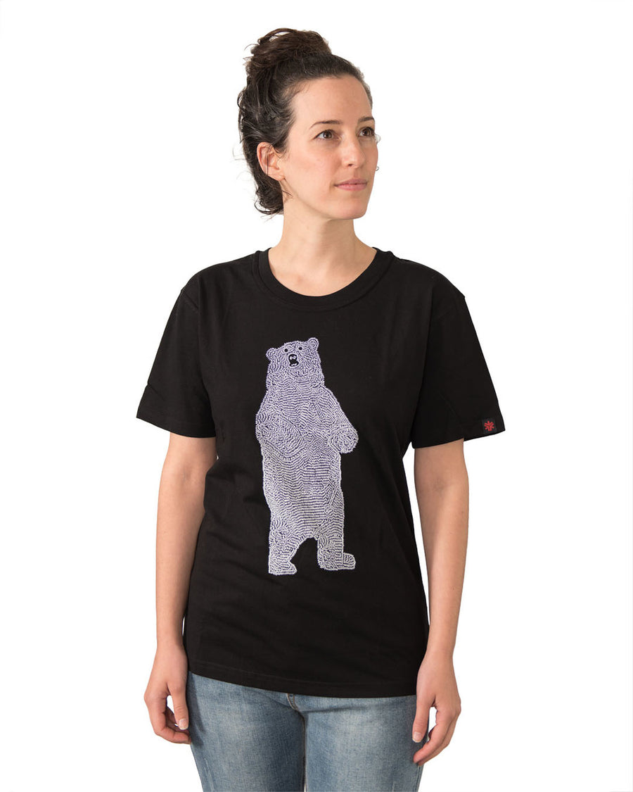 Unisex Bear Black Tshirt Organic Fairtrade