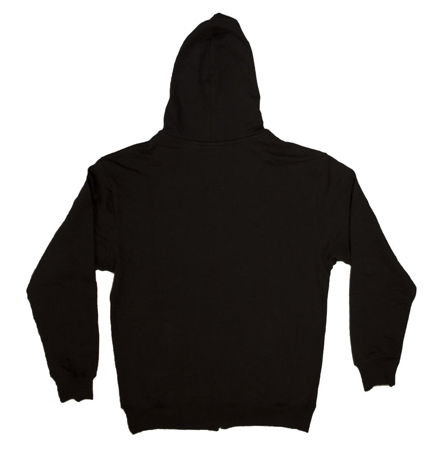 Etiko black unisex hoodie with zip made from organic and fairtrade cotton