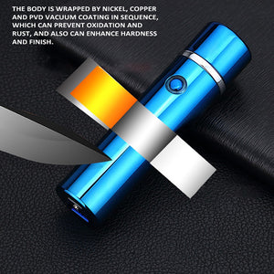 Creative USB Rechargeable Electronic Hit Fire Machine Windproof Flameless Cylindrical Metal Smoking Cigarette Lighters of Double Arc
