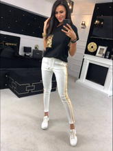 Load image into Gallery viewer, Sequin Pocket White Top Pants Set - FabNetStudio