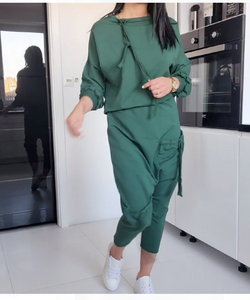 Dark Forest Green Top and Pants Set