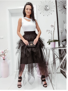 Black Tutu Skirt and White Vest