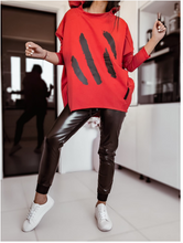 Load image into Gallery viewer, Red Oversized Top,Eco Leather Black Joggers Set