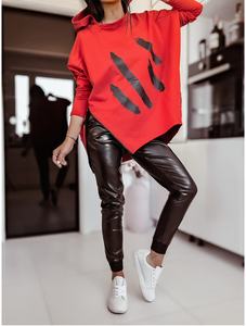 Red Oversized Top,Eco Leather Black Joggers Set