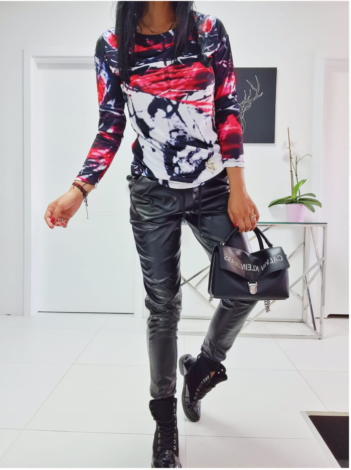 Black Eco Leather Joggers,Vibrant Abstract Blouse top Set