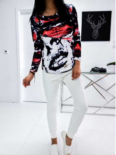 White  Eco Leather Joggers,Vibrant Abstract Blouse top Set