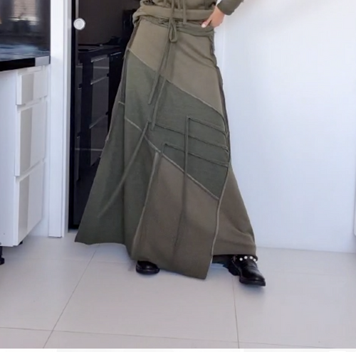 Patchwork Maxi Green Skirt