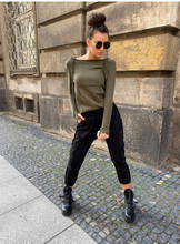 Load image into Gallery viewer, Oil Green Top Black Caro Pants Set