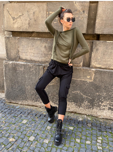 Oil Green Top Black Caro Pants Set
