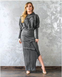Side Low-High Asymmetrical Hoodie Dress