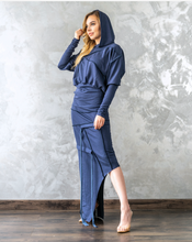 Load image into Gallery viewer, Side Low-High Asymmetrical Hoodie Dress