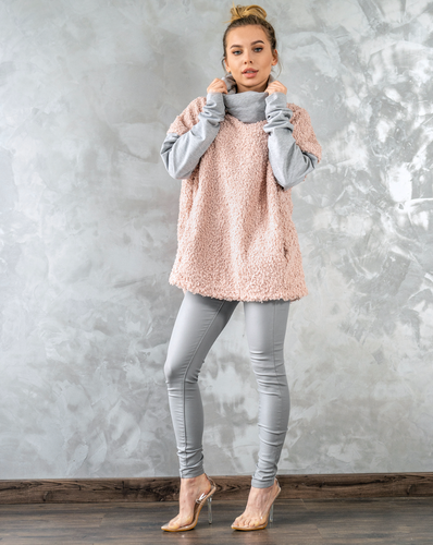 Fluffy Sweater,Jacket in pale pastel pink