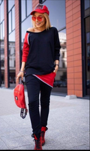 Load image into Gallery viewer, Black and red activewear set