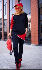 Black and red activewear set