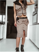 Cargar imagen en el visor de la galería, Trench long jacket-dress ,crop jacket, skirt all in one