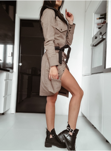 Trench long jacket-dress ,crop jacket, skirt all in one