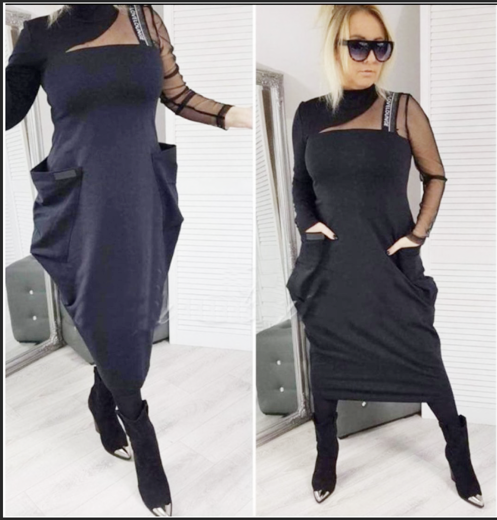 Black Asymmetrical Dress One Arm Mesh