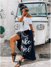 Load image into Gallery viewer, Maxi Black Skirt White Top Set
