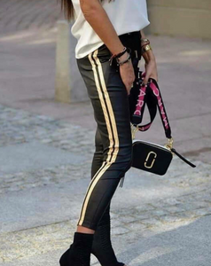 Eko Leather Skinny Track Pants - FabNetStudio