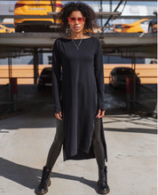 Load image into Gallery viewer, Long Tunic Dress Sides Zips open - FabNetStudio