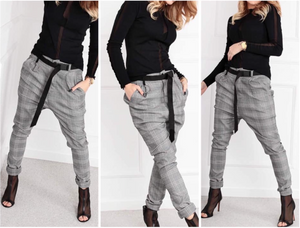 Drop crotch pants gingham - FabNetStudio