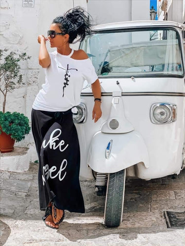 Maxi Black Skirt and White Top Set