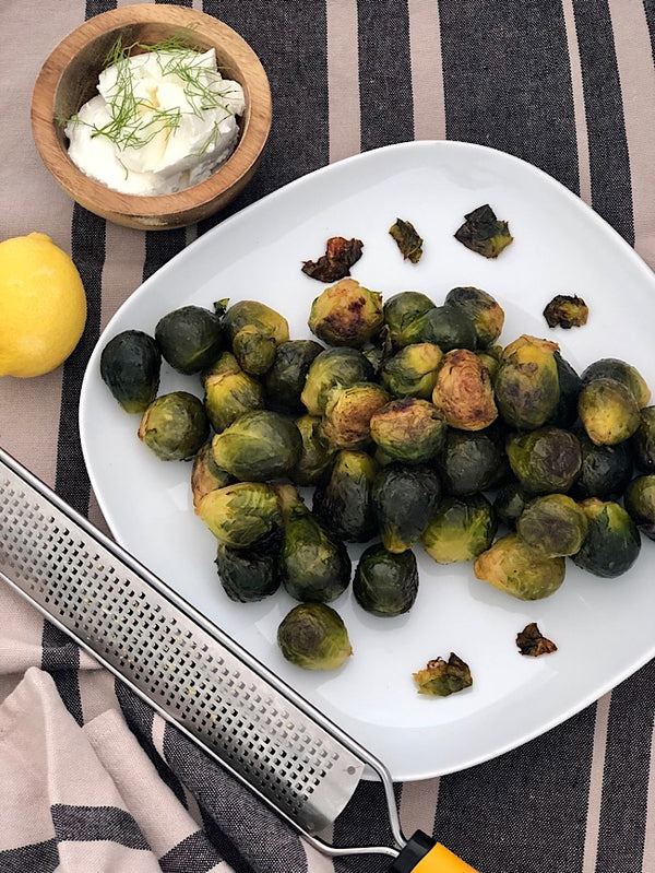 Spicy lemony Brussels sprouts