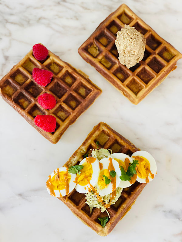 Low carb , gf tahini waffles
