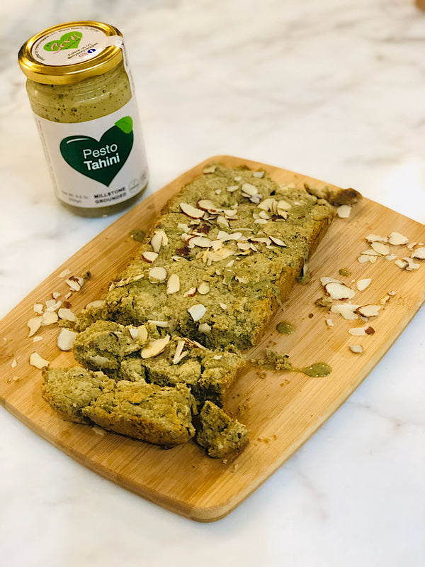 Vegan pesto tahini bread