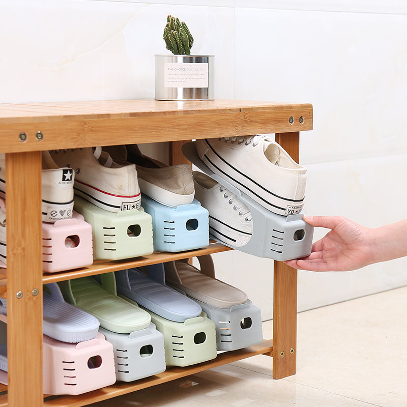 (Factory Outlet 80% OFF Today)Double Deck Shoe Rack - A Space Saving Storage Solution!
