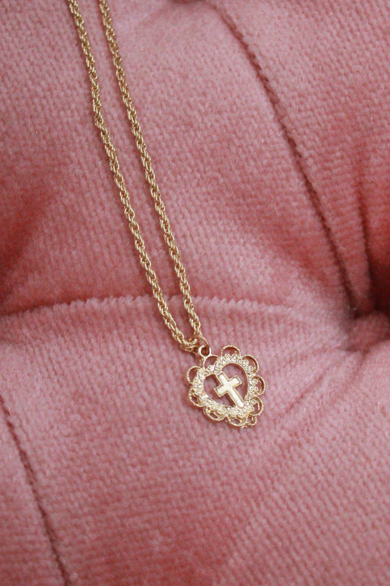 Gold Cross My Heart Pendant Choker Necklace