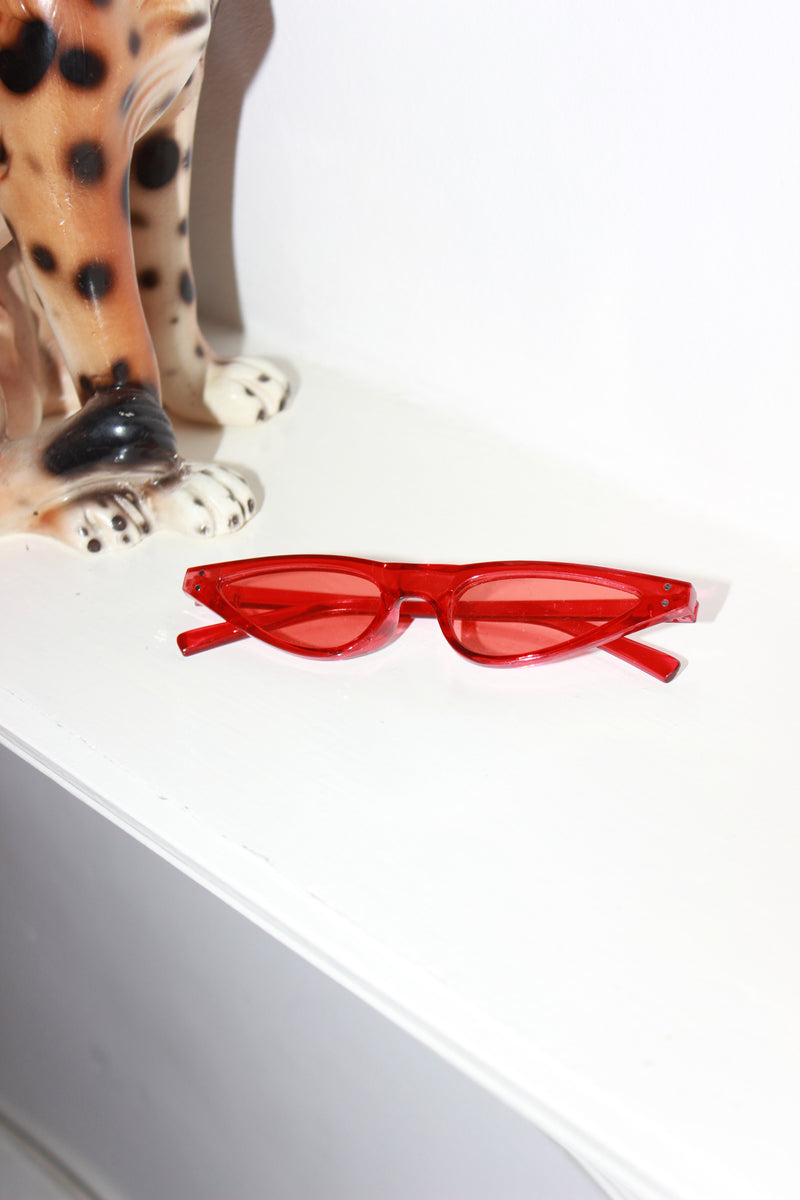 Ultra Slim Maraschino Red Shell Cat-Eye Sunglasses