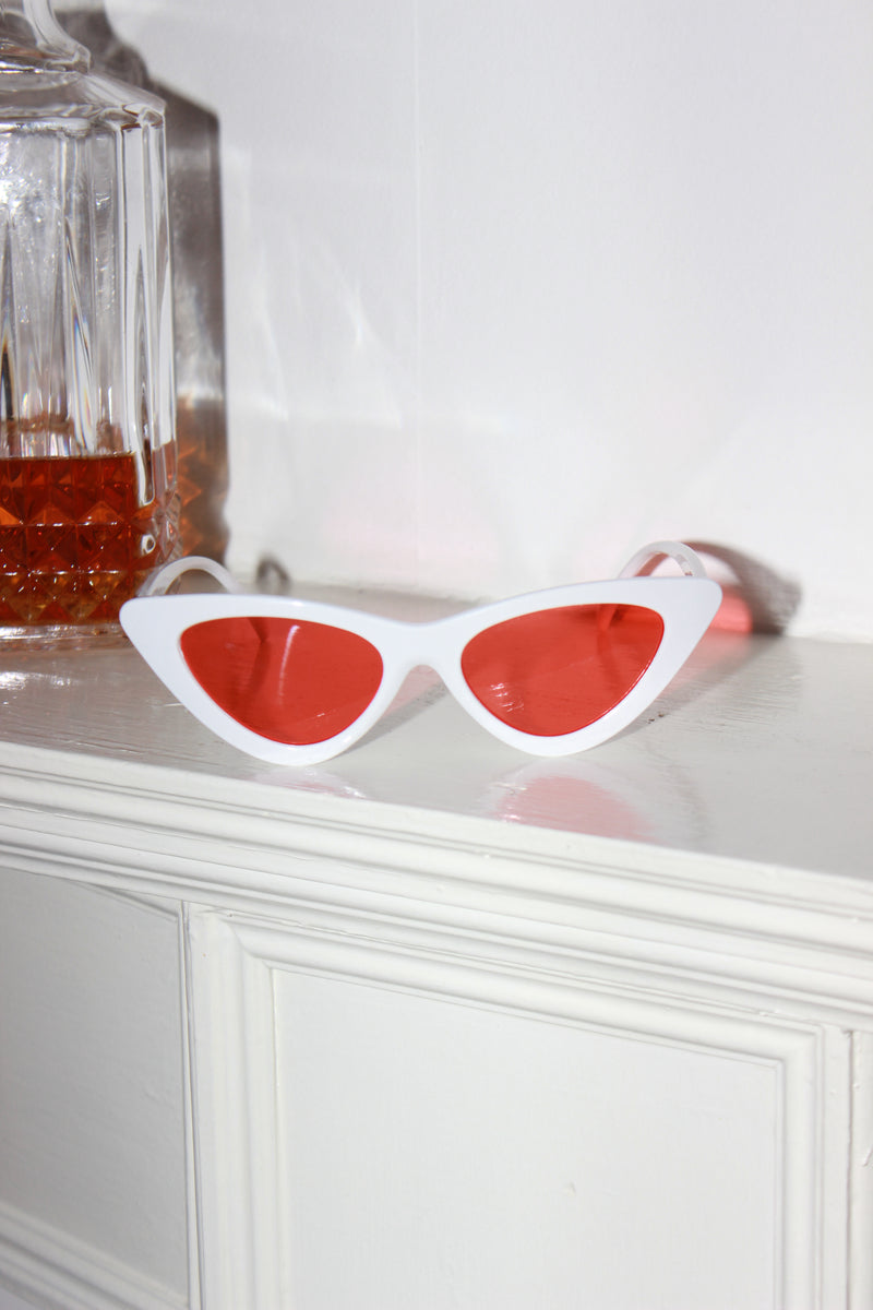 'Miami Sunset' White Rim Orange Lens Cat Eye Sunglasses