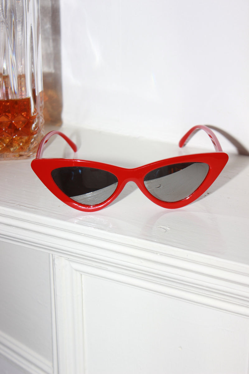 'Miami Vice' Red Frame Mirror Lens Cat Eye Sunglasses