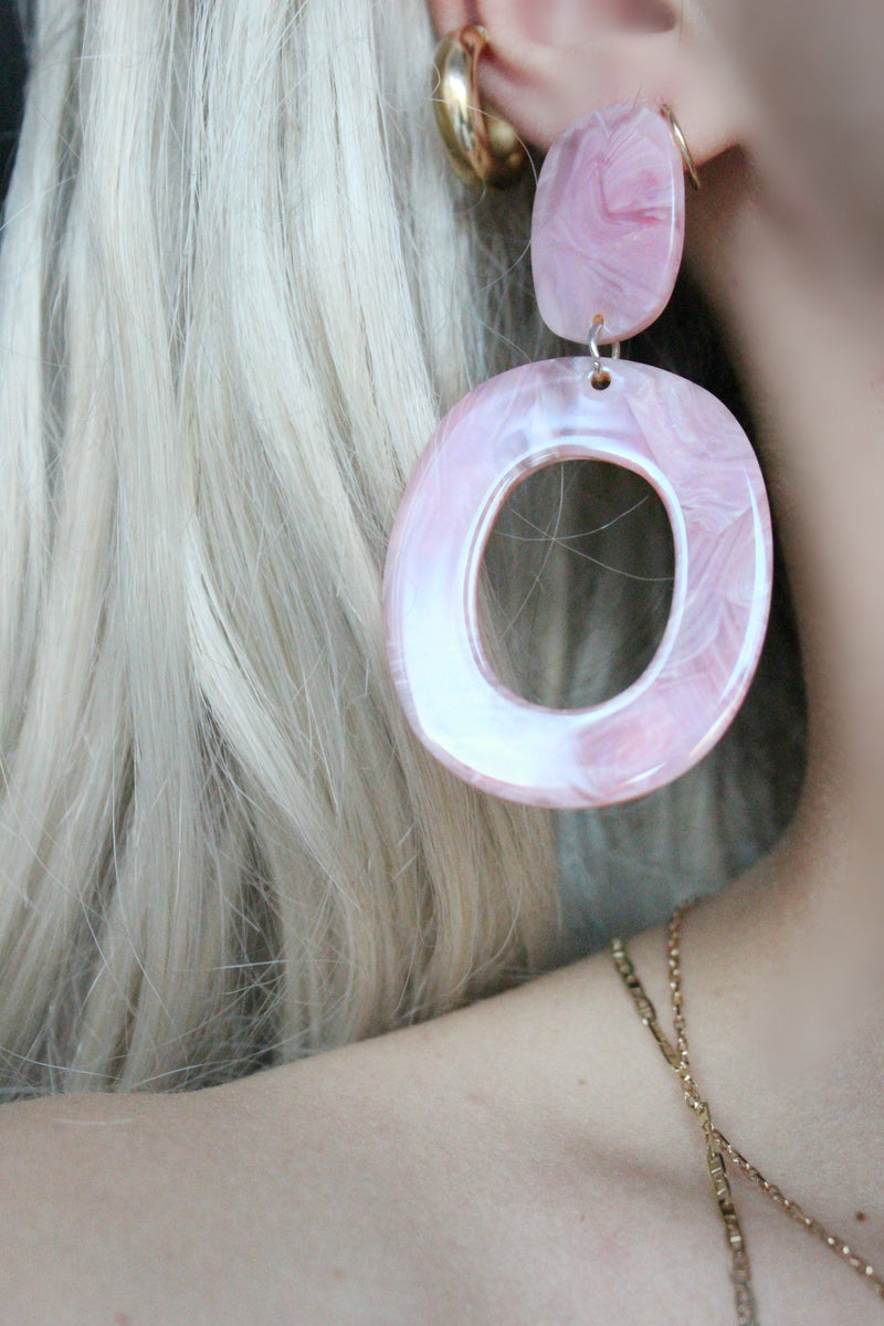 Statement Oversized Pink Acrylic Dangle Hoop Earrings