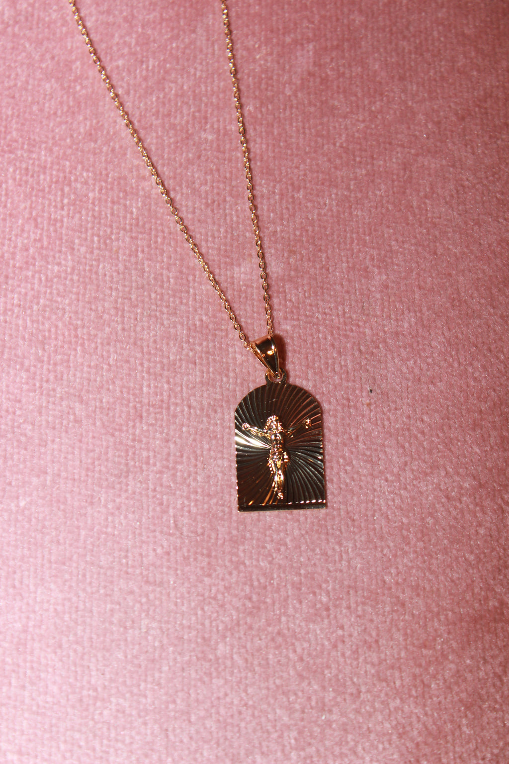 Gold Jesus On The Cross Necklace
