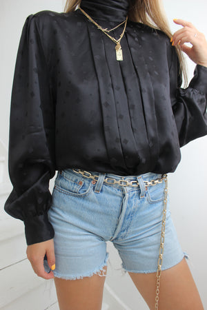 Vintage 80s Real Silk High Neck Blouse With Button Up Back