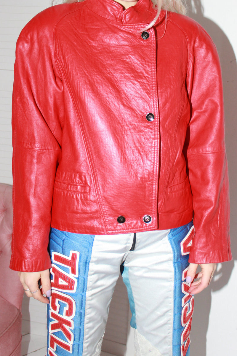 ST MICHAEL Vintage 90s Hot Red Leather Jacket