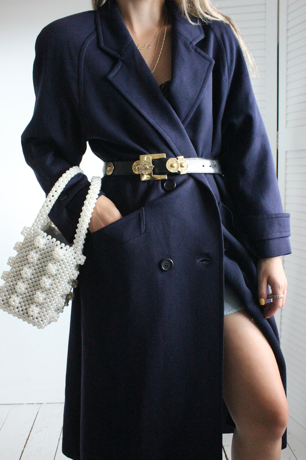 Vintage 80s Navy Long Double Breasted Wool Trench Jacket
