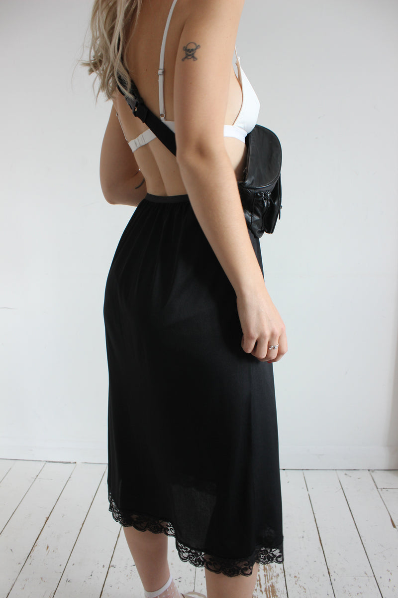 Vintage 90s Black Lace Trim Lace Slip Skirt