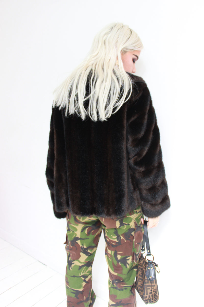 Vintage 60s Dark Brown Faux Mink Fur Short Jacket