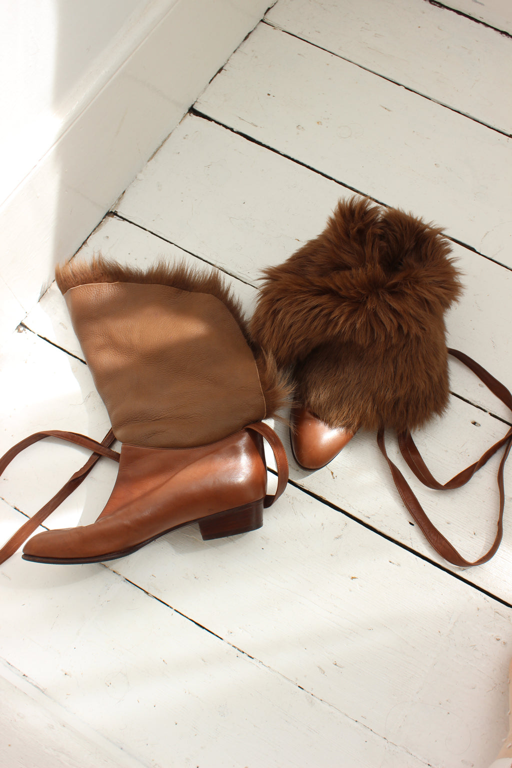 Premium Vintage 80s Brown Sheepskin Fur Leather Ankle Boots