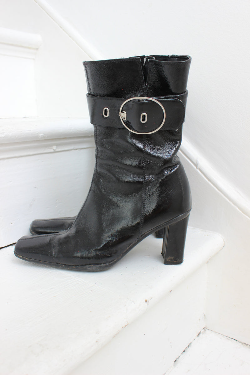 Vintage 90s Black Patent Leather Ankle Boots