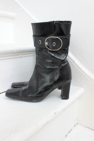 Vintage 80s Grey Leather Ankle Boots
