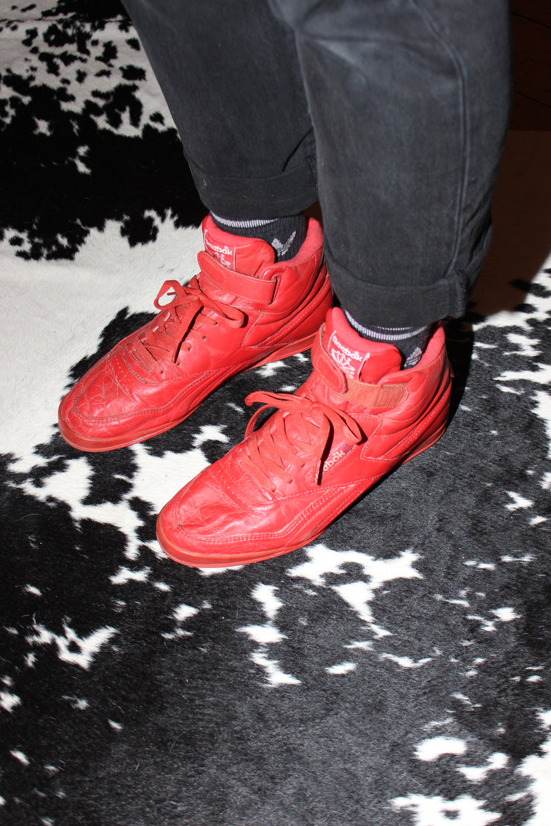 Rare Vintage 80s Hot Red Reebok High-Top Trainers Sneakers