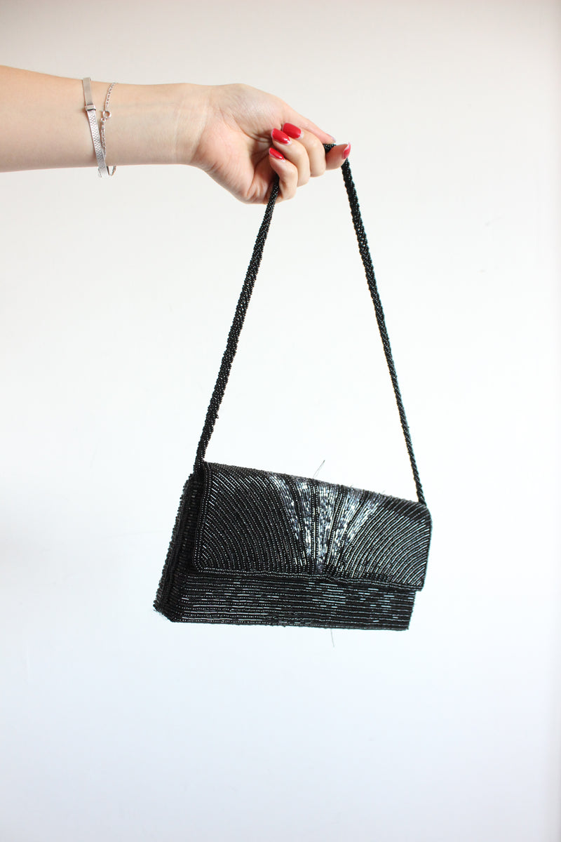 Vintage 90s Y2K Slim Black Sequinned Handbag