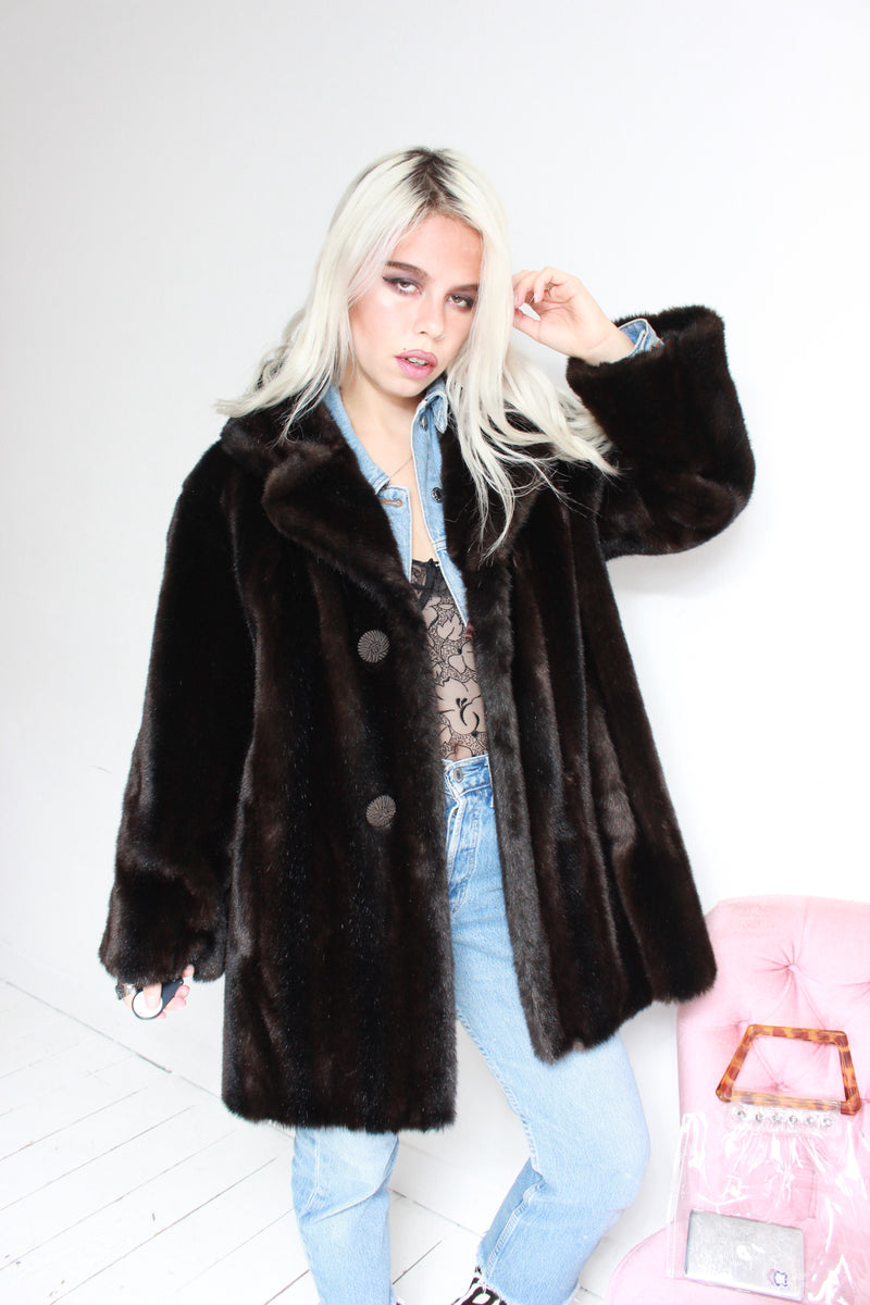 Vintage 60s 'Tissavel' Dark Brown Faux Mink Fur Jacket
