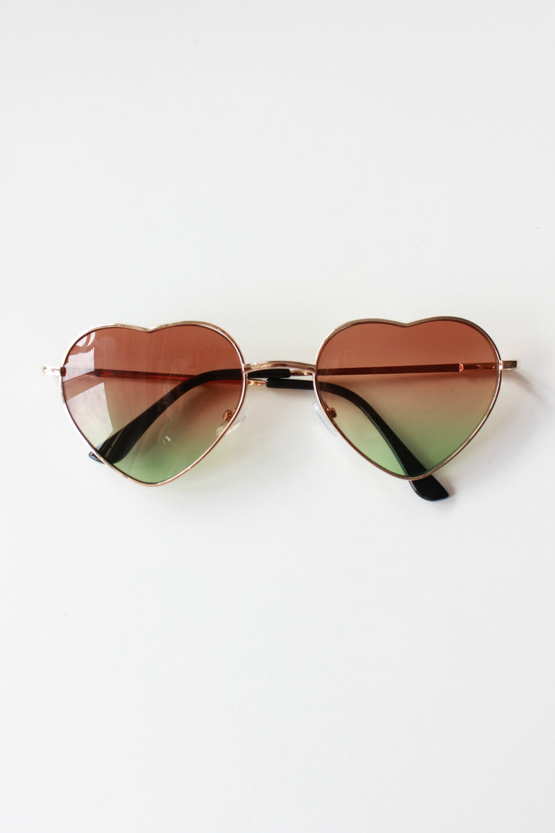 Brown And Green Ombre Heart Sunglasses