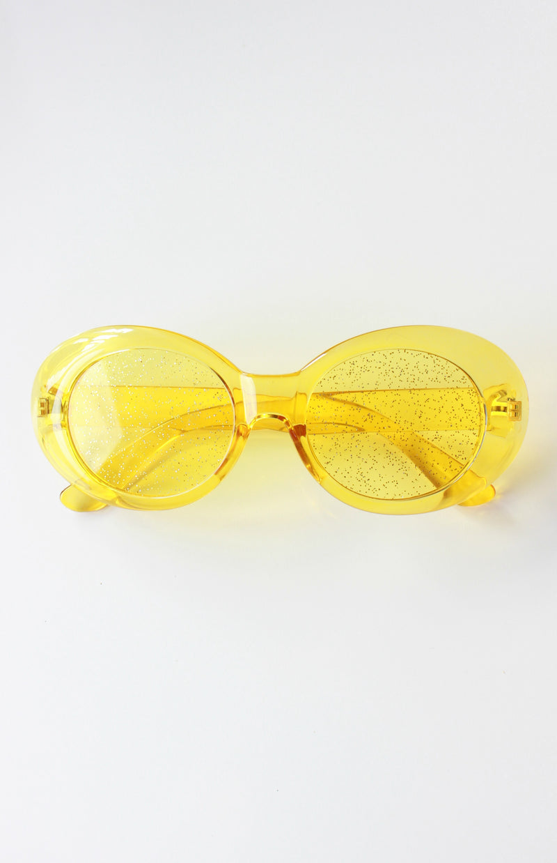 Oversized Yellow Oval Glitter Lens Sunglasses